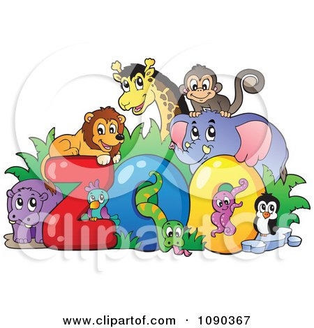 Clipart Animals Around The Word Zoo - Royalty Free Vector Illustration by visekart
