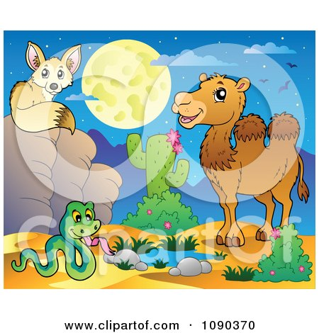 Clipart Desert Fox Snake And Camel By A Watering Hole At Night - Royalty Free Vector Illustration by visekart