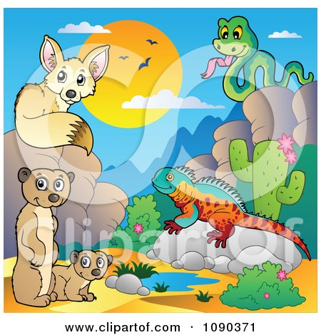 Clipart Desert Fox Snake Meerkats And Lizard By A Watering Hole - Royalty Free Vector Illustration by visekart