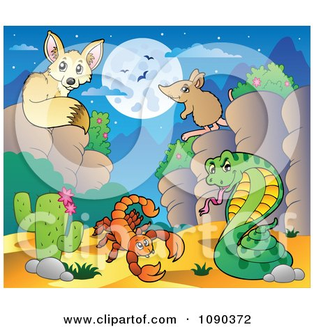 Clipart Desert Fox Scorption Snake And Mouse At Nigh - Royalty Free Vector Illustration by visekart