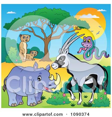 Clipart Meerkats Rhino Gazelle And Snake Savannah Animals - Royalty Free Vector Illustration by visekart