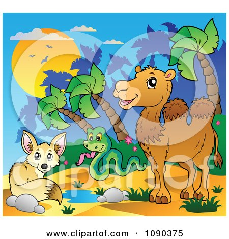Clipart Desert Fox Snake And Camel By A Watering Hole - Royalty Free Vector Illustration by visekart