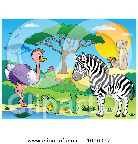 Clipart Crocodile Ostrich Zebra And Meerkat Watering Hole Savannah Animals - Royalty Free Vector Illustration by visekart