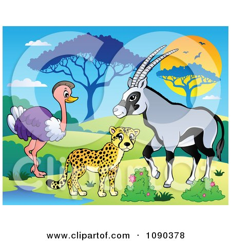 Clipart Cheetah Ostrich And Gazelle Savannah Animals By A Watering Hole - Royalty Free Vector Illustration by visekart