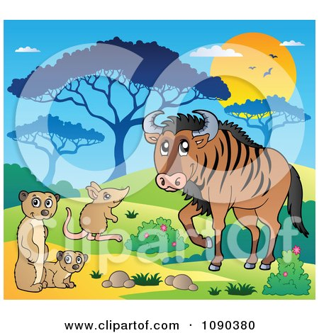Clipart Meerkat Mouse And Wildebeest Savannah Animals - Royalty Free Vector Illustration by visekart