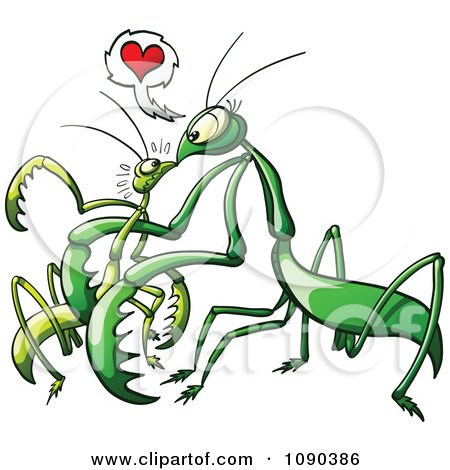Clipart Female Praying Mantis Luring In Her Male Victim With Love - Royalty Free Vector Illustration by Zooco