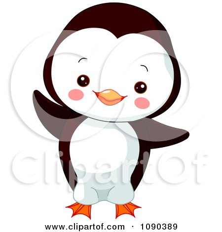 Clipart Cute Baby Zoo Penguin Dancing - Royalty Free Vector Illustration by Pushkin