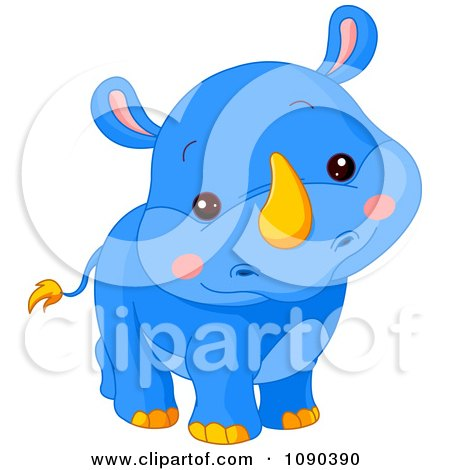 Clipart Cute Blue Baby Zoo Rhino Smiling - Royalty Free Vector Illustration by Pushkin