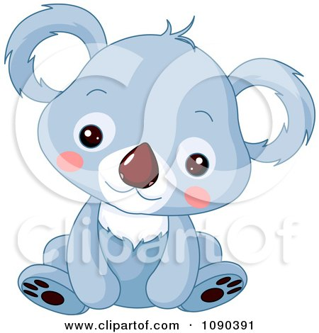 Clipart Cute Blue Baby Zoo Koala Sitting - Royalty Free Vector Illustration by Pushkin