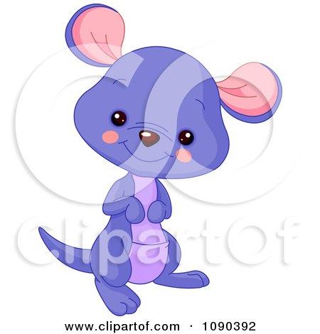 Clipart Cute Purple Baby Zoo Kangaroo Smiling - Royalty Free Vector Illustration by Pushkin