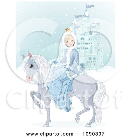 Clipart Princess On Her Horse By A Blue Castle In A Winter Landscape - Royalty Free Vector Illustration by Pushkin