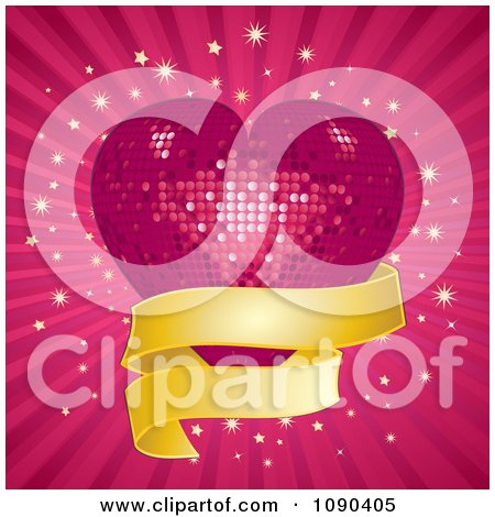 Clipart 3d Pink Mosaic Disco Heart With A Golden Banner Over Rays And Bursts - Royalty Free Vector Illustration by elaineitalia