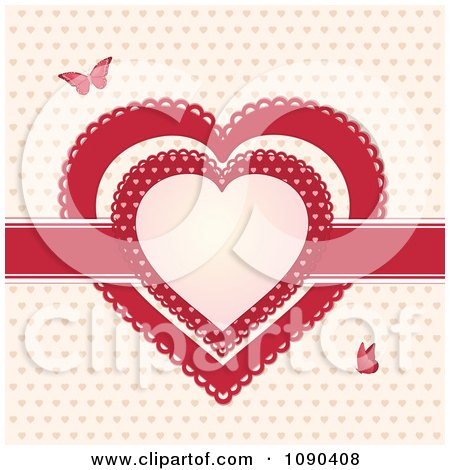 Clipart Red Ribbon And Doily Valentine Hearts With Butterflies - Royalty Free Vector Illustration by elaineitalia