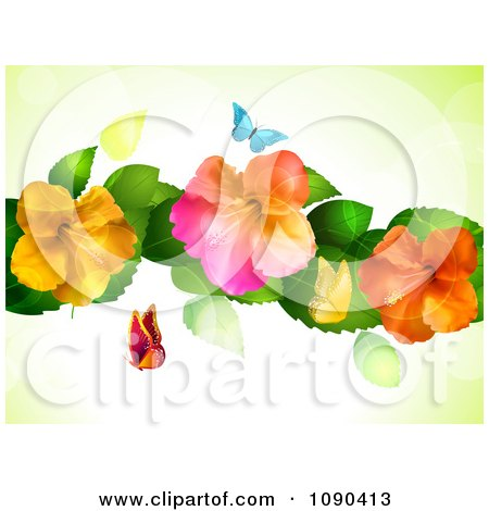 Clipart Background Of Butterflies And Colorful Hibiscus Flowers With Flares - Royalty Free Vector Illustration by elaineitalia