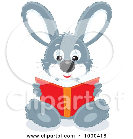 Clipart Cute Gray Rabbit Sitting And Reading A Book - Royalty Free Vector Illustration by Alex Bannykh