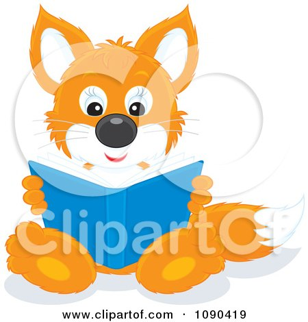 Clipart Cute Fox Sitting And Reading A Book - Royalty Free Vector Illustration by Alex Bannykh