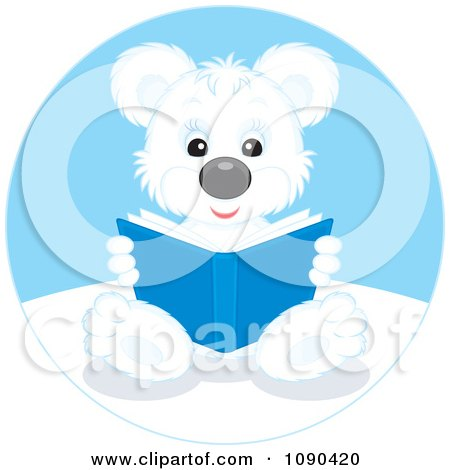Clipart Cute Polar Bear Sitting And Reading A Book - Royalty Free Vector Illustration by Alex Bannykh