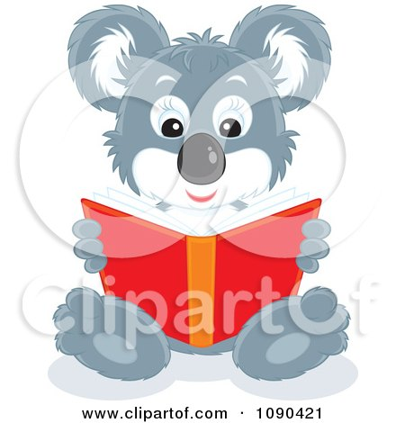 Clipart Cute Koala Sitting And Reading A Book - Royalty Free Vector Illustration by Alex Bannykh