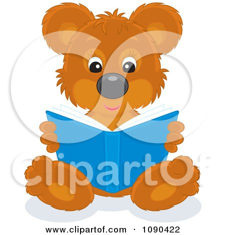 Clipart Cute Bear Sitting And Reading A Book - Royalty Free Vector Illustration by Alex Bannykh