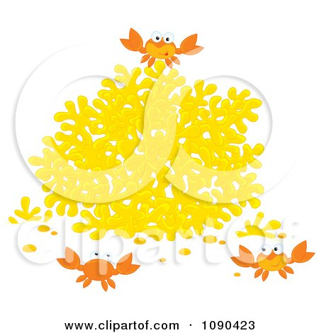 Clipart Three Crabs Playing By Yellow Coral - Royalty Free Vector Illustration by Alex Bannykh
