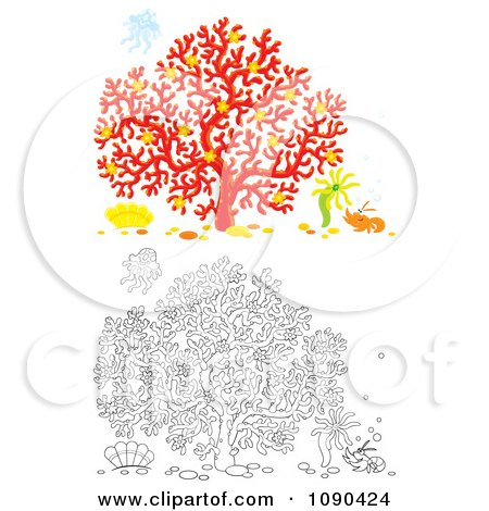Clipart Colored And Outlined Scenes Of Coral With A Shrimp Anemone And Jellyfish - Royalty Free Illustration by Alex Bannykh
