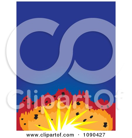 Clipart Colourful Explosion And Blue Copyspace - Royalty Free Vector Illustration by Maria Bell