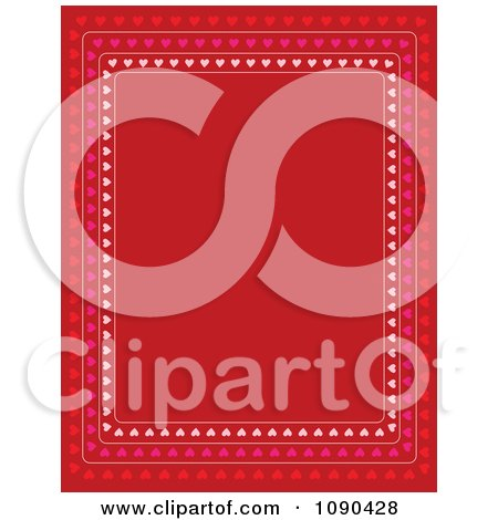Clipart Valentine Border Of Pink And Red Hearts Around Copyspace - Royalty Free Vector Illustration by Maria Bell