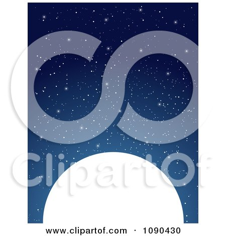 Clipart Starry Night Sky Above A Full Moon - Royalty Free Vector Illustration by Maria Bell