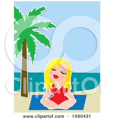 Clipart Blond Woman Meditating In A Yoga Pose On A Tropical Beach - Royalty Free Vector Illustration by Maria Bell