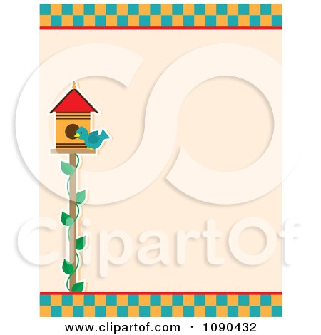Clipart Birdhouse And Bluebird With Checkers Border - Royalty Free Vector Illustration by Maria Bell