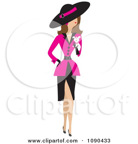 Clipart Fancy Woman Dressed In A Pink Jacket And Carrying A White Puppy - Royalty Free Vector Illustration by Maria Bell