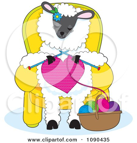 Clipart Cute Knitting A Heart And Sitting In A Chair - Royalty Free Vector Illustration by Maria Bell