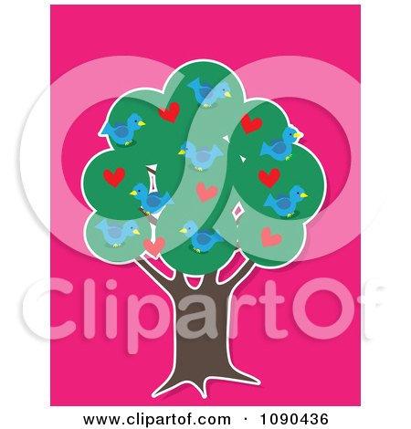 Clipart Tree With Blue Birds Hearts And Thick Foliage - Royalty Free Vector Illustration by Maria Bell