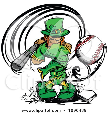 Clipart Baseball Leprechaun Mascot Batting - Royalty Free Vector Illustration by Chromaco