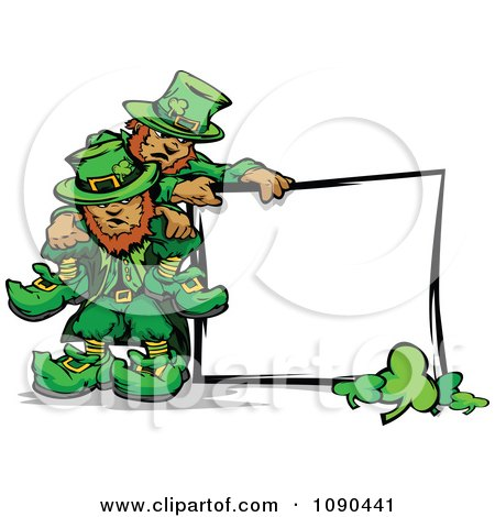 Clipart St Patricks Day Leprechaun Mascots With A Blank Sign - Royalty Free Vector Illustration by Chromaco