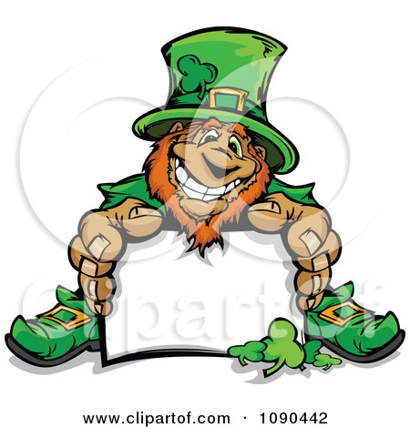 Clipart Leprechaun Mascot Sitting With A Blank Sign - Royalty Free Vector Illustration by Chromaco