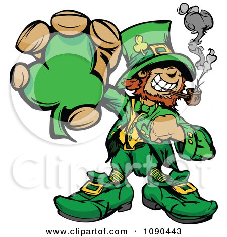 Clipart Leprechaun Mascot Smoking A Pipe And Holding A Clover - Royalty Free Vector Illustration by Chromaco