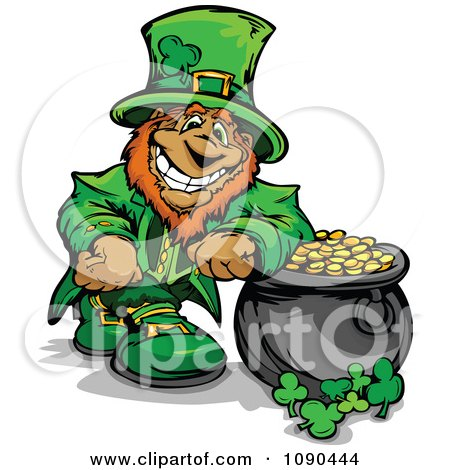 Clipart Leprechaun Mascot Leaning On His Pot Of Gold - Royalty Free Vector Illustration by Chromaco