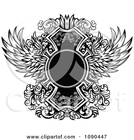 Clipart Blank Circle And Ornate Black And White Wings - Royalty Free Vector Illustration by Chromaco