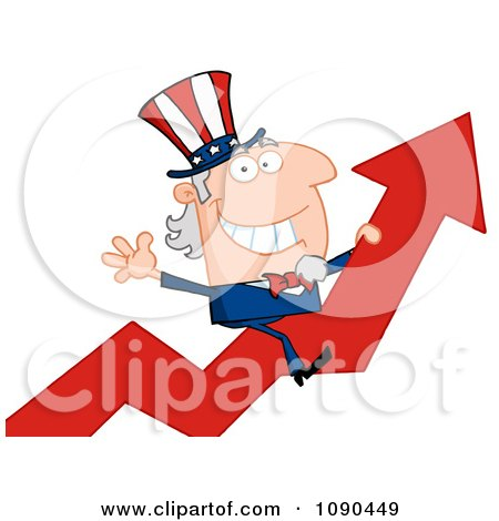 Clipart Uncle Sam Riding A Growth Arrow - Royalty Free Vector Illustration by Hit Toon