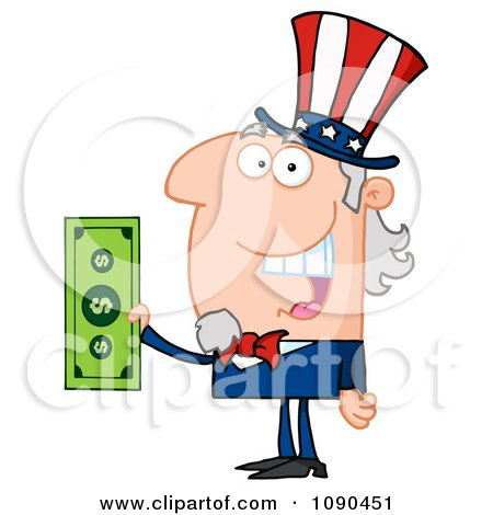 Clipart Uncle Sam Holding Tax Dollars - Royalty Free Vector Illustration by Hit Toon