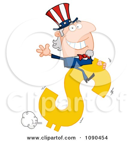 Clipart Uncle Sam Riding A Dollar Symbol - Royalty Free Vector Illustration by Hit Toon