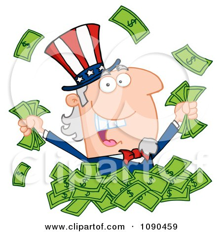 Clipart Uncle Sam Playing In A Pile Of Cash - Royalty Free Vector Illustration by Hit Toon