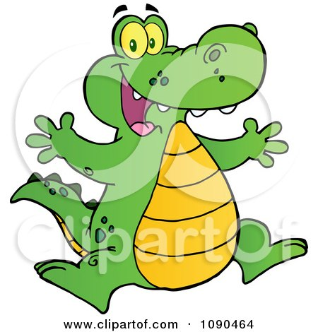 Clipart Happy Alligator Jumping - Royalty Free Vector Illustration by Hit Toon