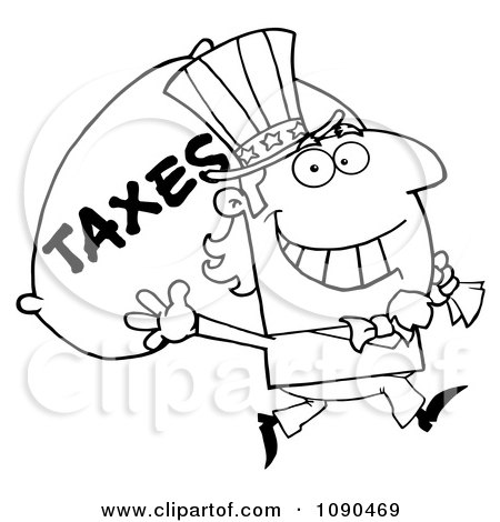 Clipart Outlined Uncle Sam Carrying A Taxes Sack - Royalty Free Vector Illustration by Hit Toon