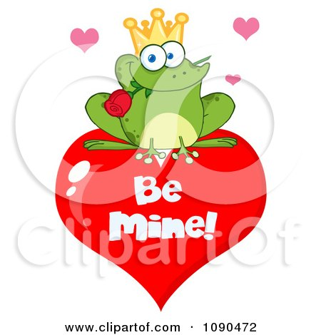 Clipart Frog Prince With A Rose On A Be Mine Heart Valentine - Royalty Free Vector Illustration by Hit Toon
