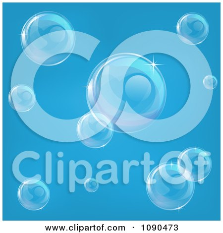 Clipart Transparent Bubbles Floating Over Blue - Royalty Free Vector Illustration by AtStockIllustration