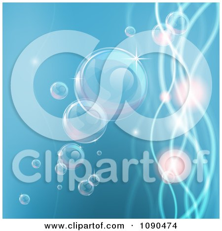 Clipart Background Of Bubbles In Water With Waves And Orbs - Royalty Free Vector Illustration by AtStockIllustration