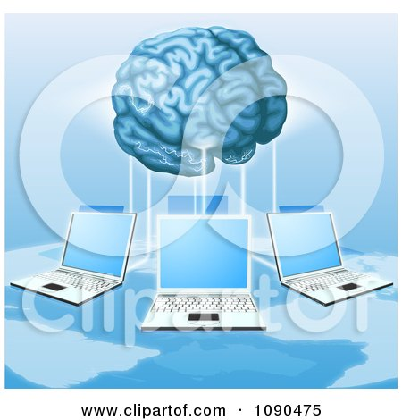 Clipart 3d Brain Connected To A Network Of Laptops Above A Map - Royalty Free Vector Illustration by AtStockIllustration