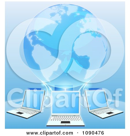 Clipart Blue 3d Globe Connected To A Network Of Laptop Computers - Royalty Free Vector Illustration by AtStockIllustration
